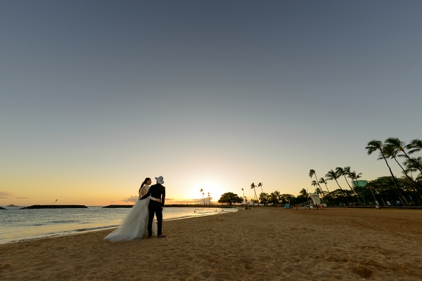 ハワイでの海外挙式のためのレース長袖のウェディングドレス
